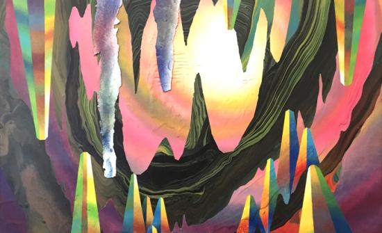 Grotto, 2017, peinture latex et bombe aérosole sur bois