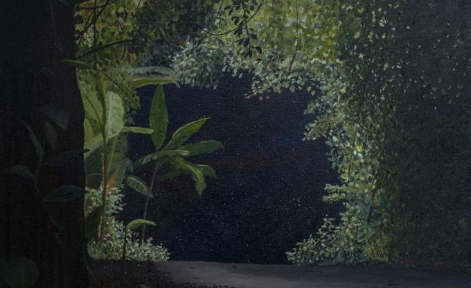 """Alex Coma, Wormhole I, 2015, huile sur toile, 24 x 24"""""""
