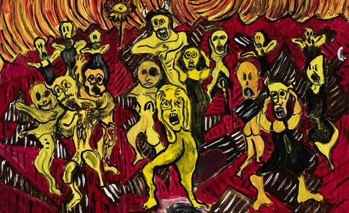 Anick Langelier, Le jugement dernier, 2011, acrylique sur toile, 76 x 102 cm