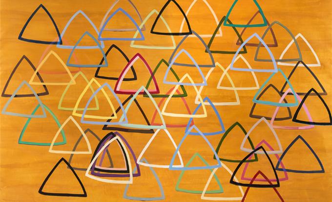 Landon Mackenzie, The Pines (Gold Triangle) (détail), 2014-2016, huile sur lin, 220 x 290 cm
