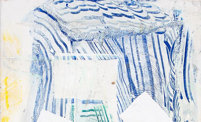 Justin Stephens, Collected Poems, 2018, acrylique, encre, canevas, plâtre et orge sur toile, 56 x 41 cm