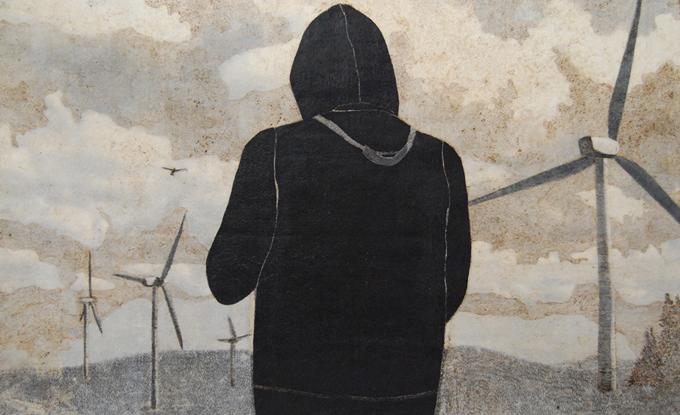 Chloé Beaulac, Pyrogravure et techniques mixtes sur papier, 123 x 93 cm