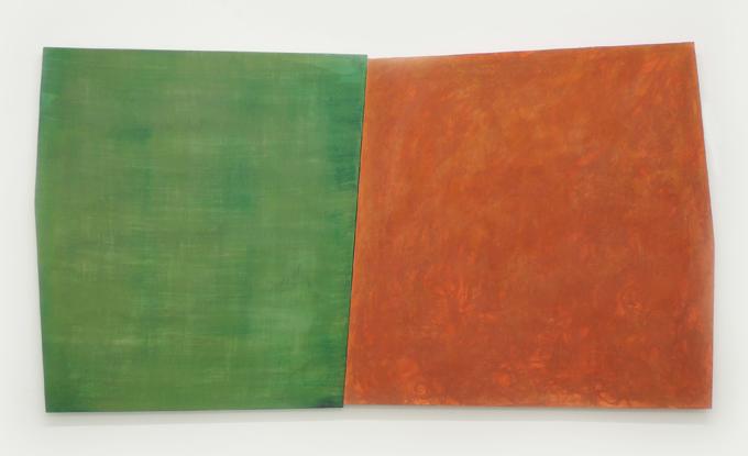 Mathieu Lévesque, Gold Diggers, 2018, acrylique, pigment végétal et vernis sur bois, 79 x 152,5 cm