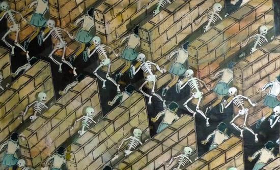 Mando Marie, Death Race, acrylique et aérosol sur toile, 72 x 72 po