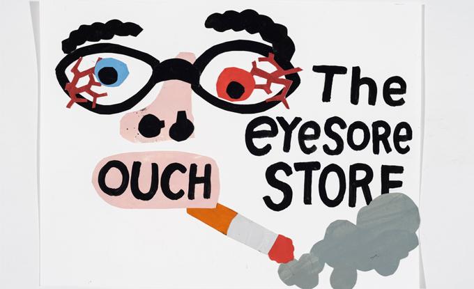 Adrian Norvid, The Eyesore Store, 2019, flashe sur papier. Photo: Guy L'Heureux