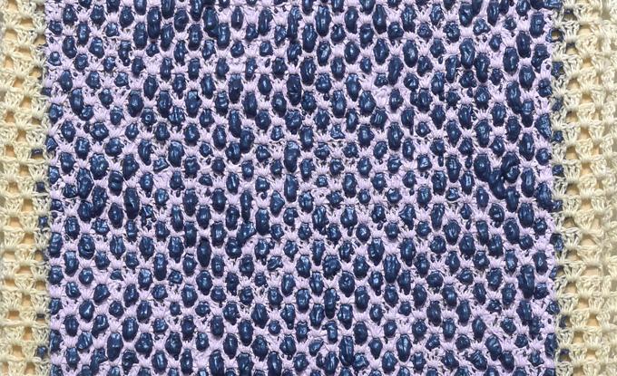 Angela Teng, Indigo Through Violet, 2018, oil through crocheted, linen, 16 x 12 po. Permission Equinox Gallery