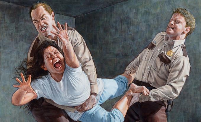 Kent Monkman, Study for Two Figures Restraining a Third, 2018, acrylique sur toile, 40.5 x 51 cm