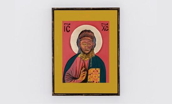 Moridja Kitenge Banza, Christ pantocrator #1, 2017, acrylique sur bois, feuille d'or, 40 x 30 cm. Photo : Jean-Michael Seminaro