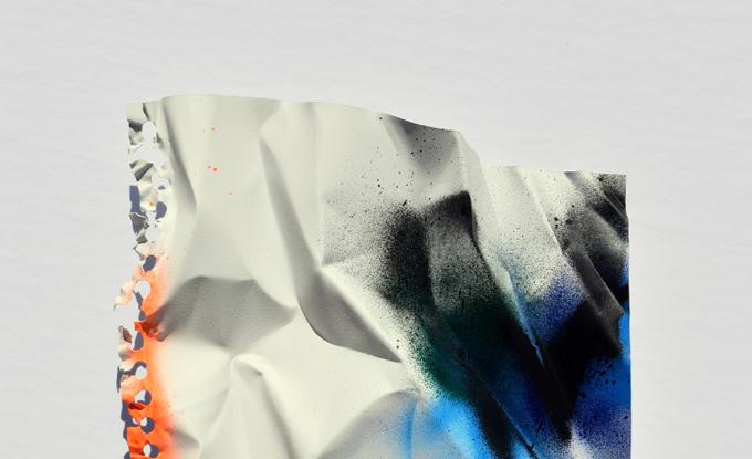 Sébastien Gaudette, Graffiti, 2018, techniques mixtes sur aluminium sculpté, 28 x 20 cm