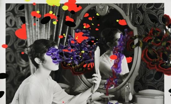 Catherine Bolduc, Autohypnose, 2019, impression au jet d'encre (image trouvée), aquarelle et acrylique sur papier, 89 x 119 cm