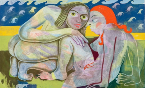 Sara Anstis, The hanging rings are removed allowing the two out of the netting, and the lusty maids have found their favourite, 2018, pastel gras sur papier, 101 x 153 cm