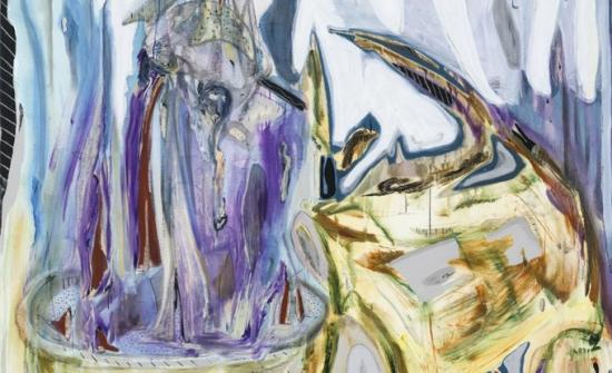 Manuel Mathieu, Lye, 2018, techniques mixtes sur toile, 190 x 203,2 cm. Collection Hydro-Québec