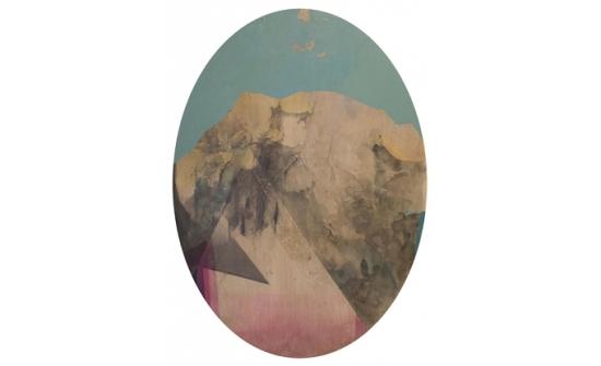 Andy Curlowe, Marigold Variation #3, 2019, acrylique, laque acrylique, graphite et cendre sur papier, 63 x 46 cm